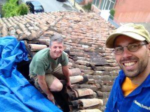 op het oude dak, samen met mijn taalleraar